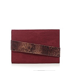 Faith - Plum snake panel flapover clutch bag