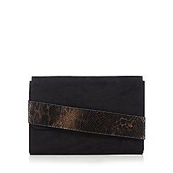 Faith - Black snake panel flapover clutch bag