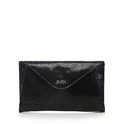 Black leather mock croc clutch bag