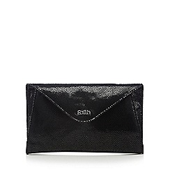 Faith - Black leather mock croc clutch bag