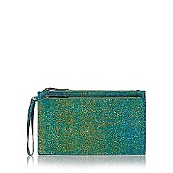 Faith - Green iridescent textured double zip clutch bag