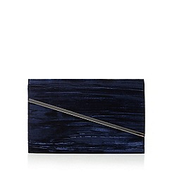Faith - Navy asymmetric textured velvet clutch bag