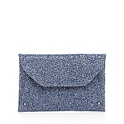 Faith - Navy glitter envelope clutch bag