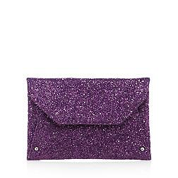Purple glitter envelope clutch bag