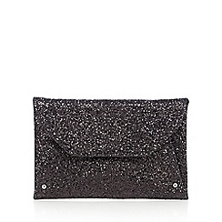 Faith - Black glitter envelope clutch bag