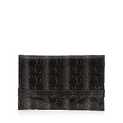 Black snakeskin envelope cross body bag