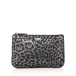 Faith - Black leopard print clutch bag