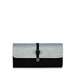 Faith - Black and silver glittery clutch bag