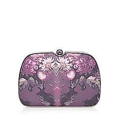 Faith - Purple floral framed clutch bag