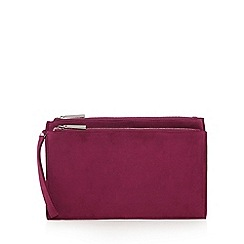 Faith - Dark purple suedette two compartment clutch bag