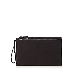 Faith - Black suedette two compartment clutch bag