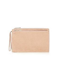 Faith - Natural double zip clutch bag