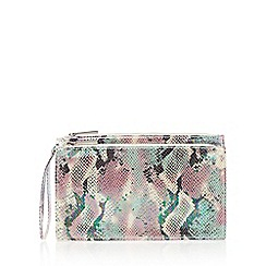 Faith - Pale pink iridescent snakeskin clutch bag
