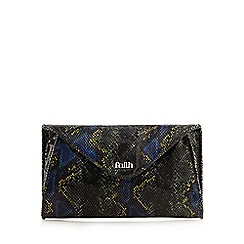 Faith - Navy leather animal print clutch bag