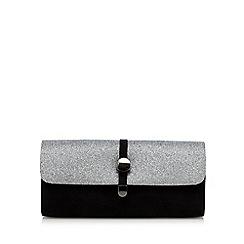 Faith - Black and silver glittery clutch bag