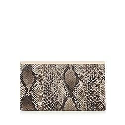 Brown animal snakeskin-effect clutch bag