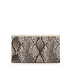 Faith - Brown animal snakeskin-effect clutch bag