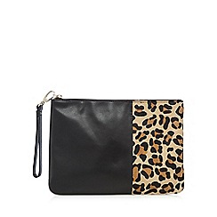 Faith - Black leather leopard print pony hair insert clutch bag
