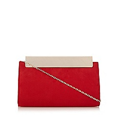 Faith - Red suedette metal clasp clutch bag