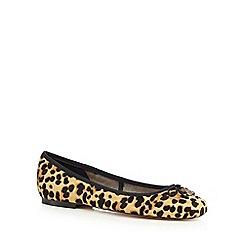 Faith - Tan 'Austin' leopard leather slip on shoes