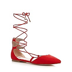 Faith - Red 'Atomic' lace up flat shoes