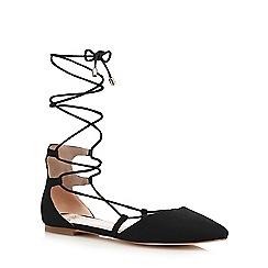 Faith - Black 'Atomic' lace up flat shoes