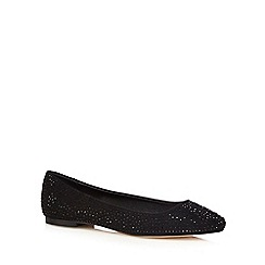 Faith - Black diamante flat shoes