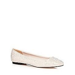Faith - Natural diamante flat shoes
