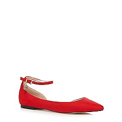Faith - Red suedette flat shoes