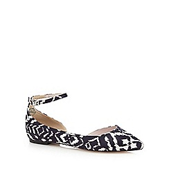 Faith - Black 'Al' ikat print flat shoes