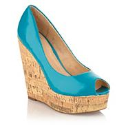 Aqua cork wedge heeled peep-toe shoes