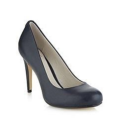 Faith - Navy leather high heeled court shoes