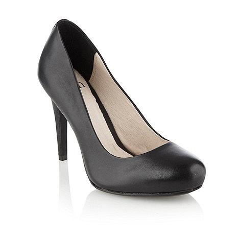 faith black leather high heeled court shoes debenhams