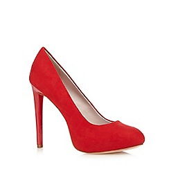 Faith - Red suedette high heeled court shoes