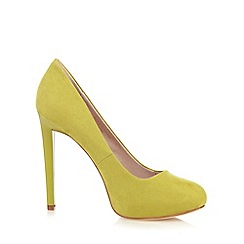 Faith - Lime suedette high heeled court shoes