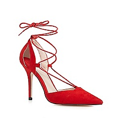 Faith - Red 'Cooper' lace up pointed toe court shoes