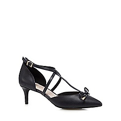 Faith - Navy 'Chris' T-bar bow leather court shoes