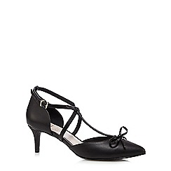 Faith - Black 'Chris' T-bar bow leather court shoes
