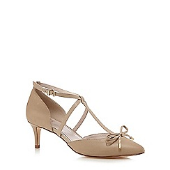 Faith - Beige 'Chris' T-bar bow leather court shoes