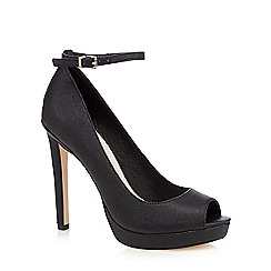 Faith - Black 'Cassie' high heeled peep toe court shoes