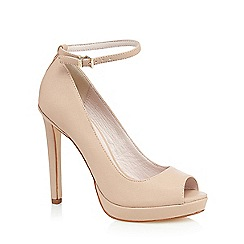 Faith - Light pink 'Cassie' high heeled peep toe court shoes