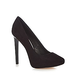 Faith - Black suedette high heel wide fit court shoes