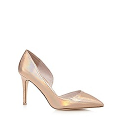 Faith - Rose iridescent 'Cliff' high wide fit court shoes