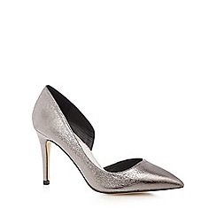 Faith - Metallic 'Cliff' high heel wide fit court shoes