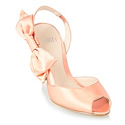 Faith - Peach asymmetric peep toe shoes