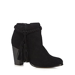 Faith - Black suede tasselled ankle boots