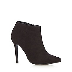 Faith - Black suedette high heeled ankle boots