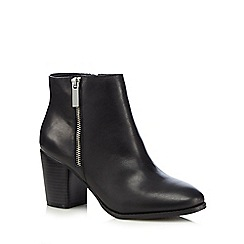 Faith - Black leather 'Sandi' heeled boots