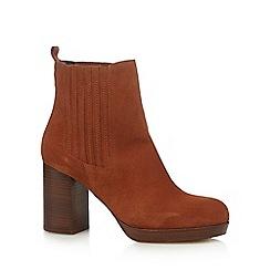 Faith - Dark orange suede high ankle boots
