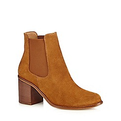 Faith - Tan leather 'Sadie' high block heel ankle boots